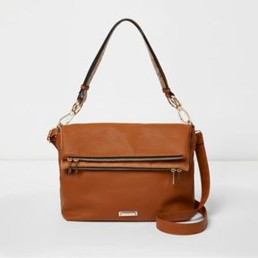 River Island Womens Tan foldover underarm cross body slouch bag