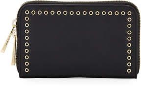 Zac Posen Earthette Leather Grommet Wallet, Black