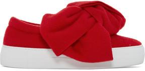 Joshua Sanders Red Felt Bow Slip-On Sneakers