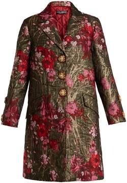 Dolce & Gabbana Single-breasted floral-jacquard coat