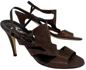 Butter Shoes Brown Textured Leather Sandal Heels