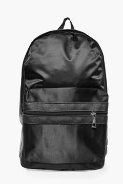 boohoo Black Nylon Backpack With Contrast Trim