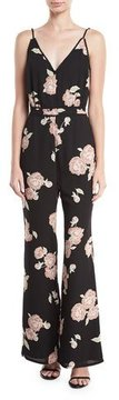 Cupcakes And Cashmere Felissa Sleeveless Floral-Print Flared-Leg Jumpsuit
