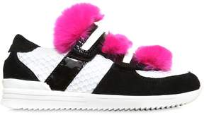 Dolce & Gabbana Mesh & Suede Sneakers With Rex Fur