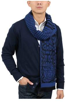 Versace It00634 Royal Royal Blue 100% Wool Mens Scarf.