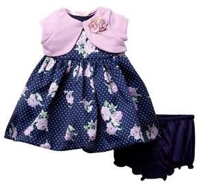 Laura Ashley Printed Dress & Shurg Set (Baby Girls)