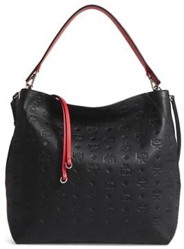 MCM Klara Monogrammed Leather Hobo Bag - Black