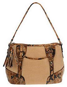 B. Makowsky B.Makowsky SoftStrawZipTop Shoulder Bag with Python Print Leather