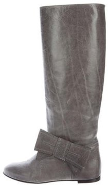 RED Valentino Leather Bow Knee-High Boots