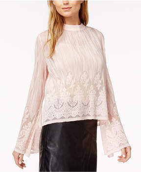 Bar III Lace Pleated Top, Created for Macy's