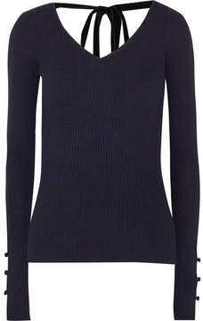 ADAM by Adam Lippes Velvet-trimmed Ribbed Merino Wool Sweater - Navy