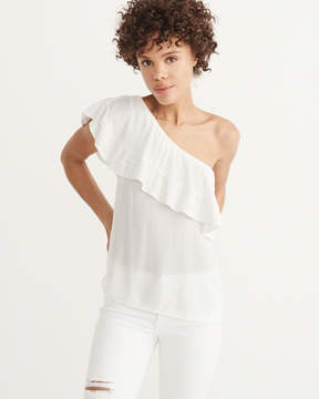 Abercrombie & Fitch Embroidered One-Shoulder Ruffle Top
