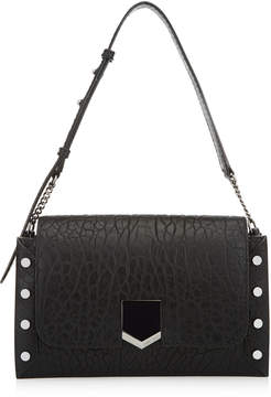 Jimmy Choo LOCKETT SHOULDER BAG Black Grainy Leather Shoulder Bag