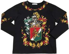 Dolce & Gabbana Crest Printed Cotton Jersey T-Shirt