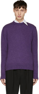 Ami Alexandre Mattiussi Purple Wool Crewneck Sweater
