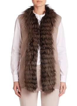 Peserico Women's Fox Fur-Trim Ribbed Vest