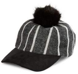 Vince Camuto Faux Fur Pom Stripe Baseball Hat