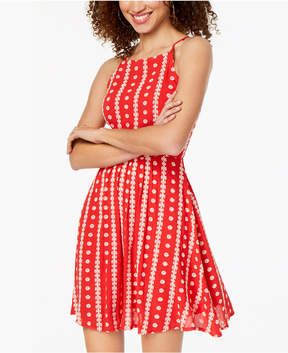 B. Darlin Juniors' Embroidered Lace-Up Dress