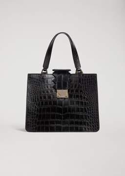 Emporio Armani Handbag In Croc Print Leather With Zigzag Detail