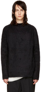Rick Owens Black Oversized Jacquard Mohair Sweater