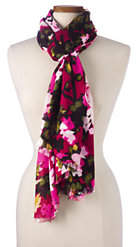 Lands' End Women's Pink Floral Scarf-Leopard