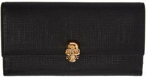 Alexander McQueen Black Lino Skull Continental Flap Wallet