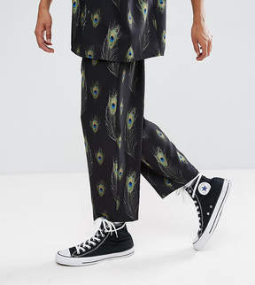 Reclaimed Vintage Inspired Relaxed Pants In Black With Feather Print