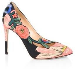 Gucci Ophelia Floral-Embroidered Printed Satin Pumps