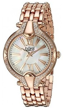 Burgi Mother Of Pearl Dial Ladies Rose Gold Tone Crystal Watch