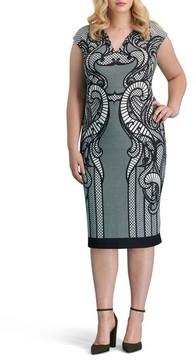 ECI Plus Size Women's Print Pique Sheath Dress