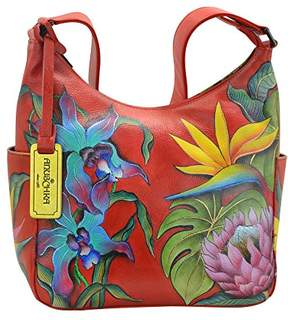 Anuschka Women's Genuine Leather Handbag | Hand Painted Original Artwork | Classic Hobo With Side Pocket |