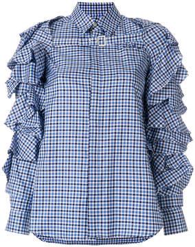 Facetasm ruffled checked shirt