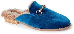 Wild Diva Teal Kaibin Velvet Faux Fur-Lined Loafer Mules