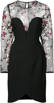 Black Halo floral embroidered sheer panelled dress
