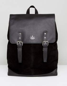 Asos Backpack In Leather And Suede Mix