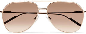 Dolce & Gabbana Aviator-style Rose Gold-plated Mirrored Sunglasses - Beige