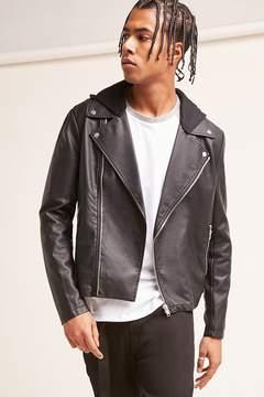 21men 21 MEN Faux Leather Hooded Jacket