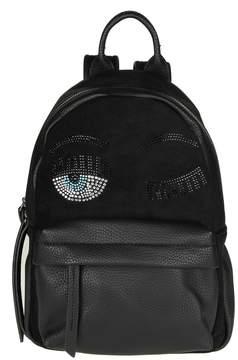 Chiara Ferragni flirting Backpack In Black Leather With Rhinestones