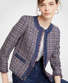 Ann Taylor Tweed Chambray Trim Open Jacket