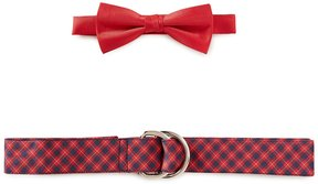 Class Club Solid Bow Tie & Plaid Belt Set