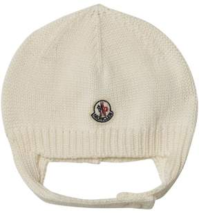 Moncler White Beanie With Chin Strap