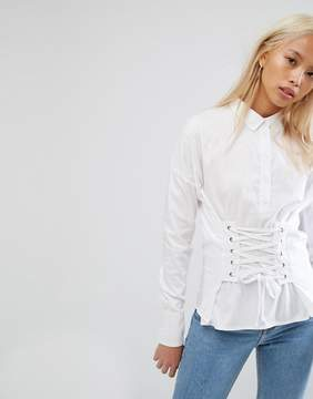 Noisy May Shirt With Corset Lace Up