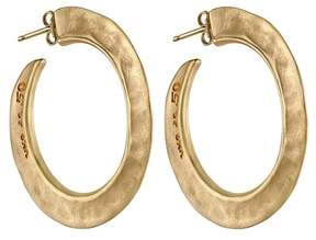 Uno de 50 Gold Plated Micron Silver 50mm Hammered Hoop Earrings
