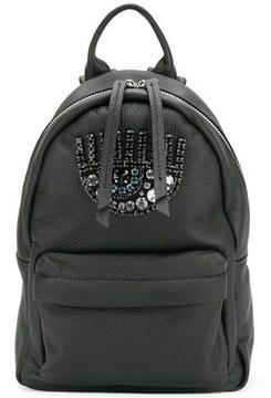 Chiara Ferragni Women's Black Leather Backpack.