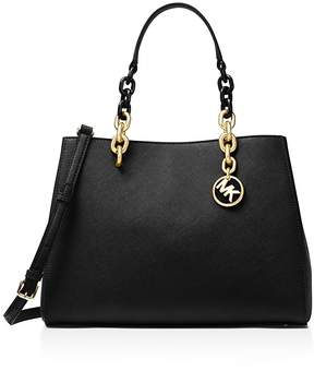 MICHAEL Michael Kors Cynthia Convertible Medium Leather Satchel - BLACK/GOLD - STYLE