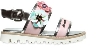 Simonetta Sequin Embroidered Nappa Leather Sandals