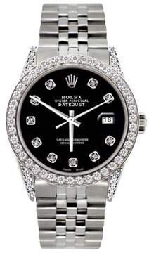 Rolex Datejust Stainless Steel 5ct Diamond With Black Dial 36mm Mens Watch