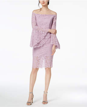 Bardot Off-The-Shoulder Bell-Sleeve Lace Dress