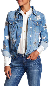 Bagatelle Star Patch Distressed Denim Jacket