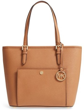 MICHAEL Michael Kors Medium Jet Set Saffiano Leather Tote - Brown - BLACK - STYLE